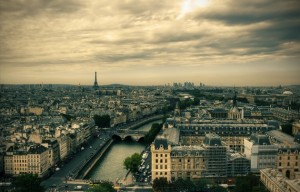 View on Paris skyline from Notre Dame de Paris